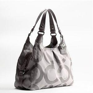 Coach Op Art Maggie Gray Shoulder Bag Leather Trim